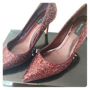 White House Black Market maroon glitter heels